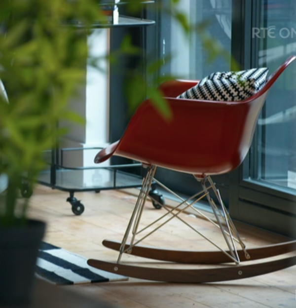 Eames-style rocker in red, available to order.  In stock now in white, blue and pink  SHOP HERE.