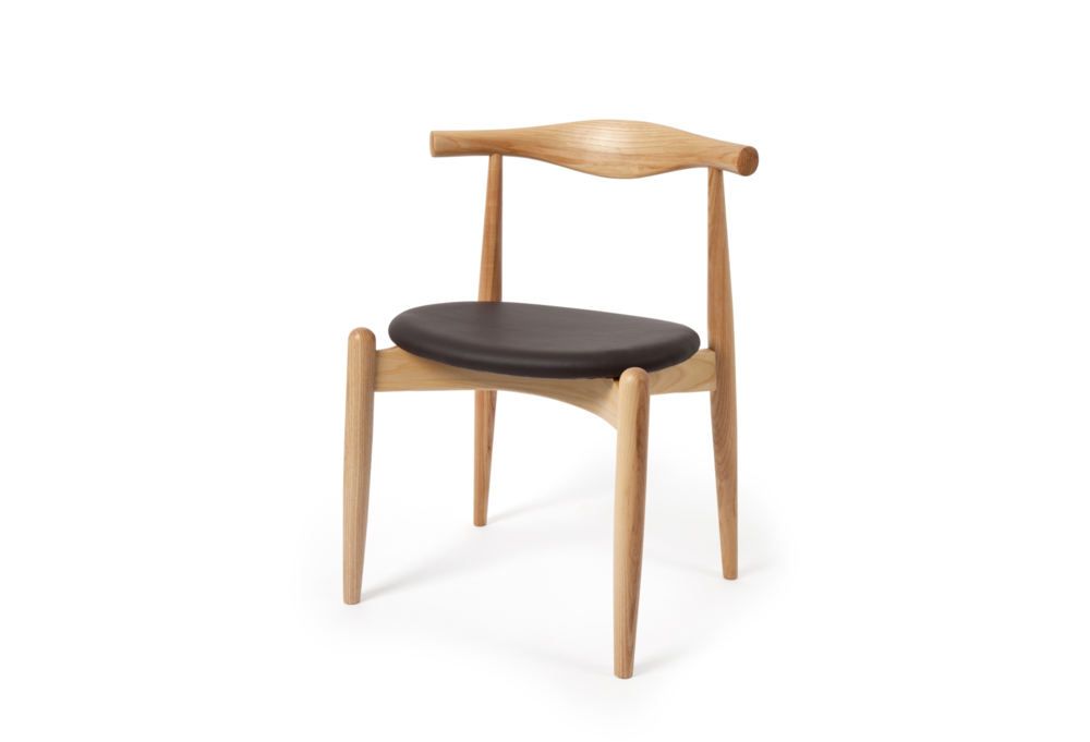 Hans Wegner Style Elbow Ash Chair With Round Brown Leather Seat (Ireland  Exclusive)