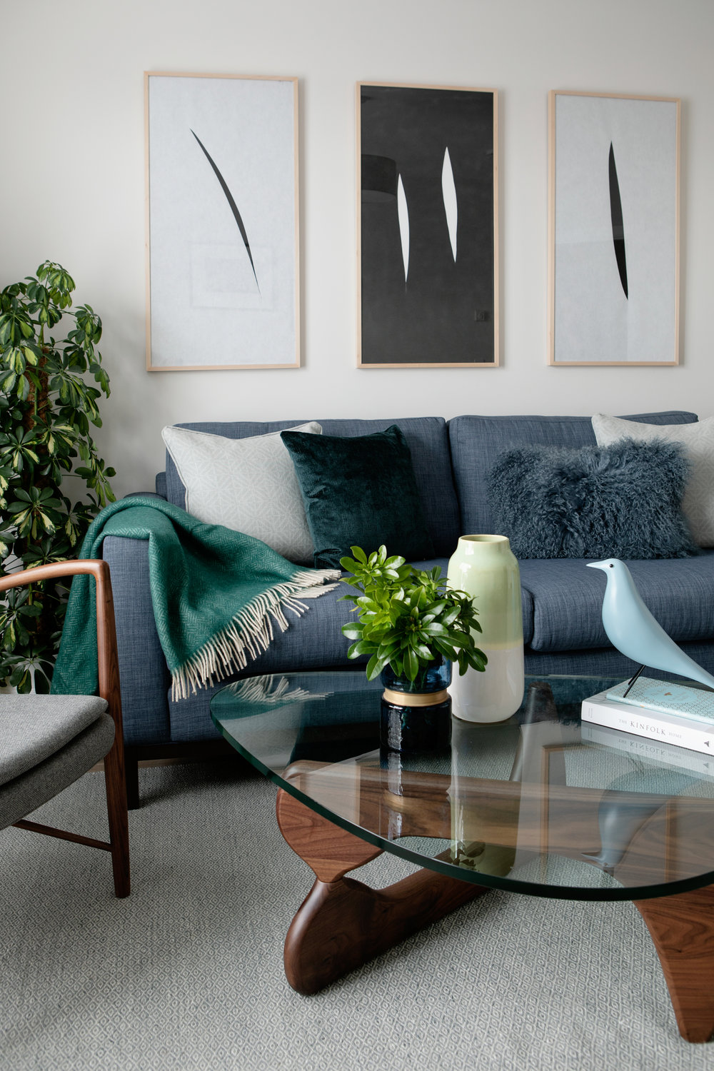 CA Design collaborated with Cairn Homes PLC on a recent housing project. Featured here is our  Noguchi-style Coffee Table  in walnut, our blue  Eames-Style House Bird  and  Finn Juhl Lounge Chair  upholstered in medium grey fabric. Photo credit:  Ruth Maria Photography.