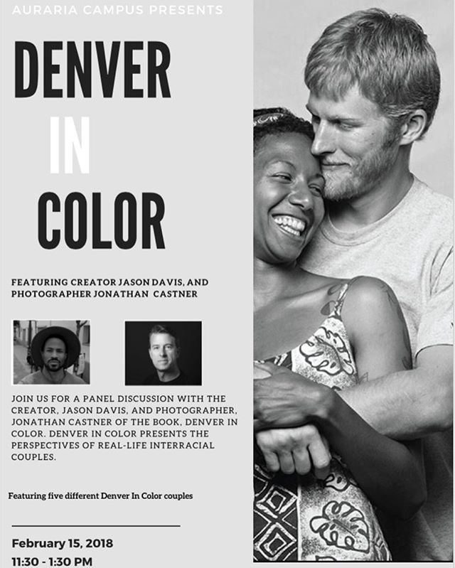 Hear the perspectives of interracial couples in person during a panel discussion hosted by the Center for Identity and Inclusion at the University of Colorado Denver! ... ⏱ When: Thursday, February 15, 2018 from 11:30 - 1:30PM ... 🏢 Where: Tivoli 320A, CU Denver Auraria Campus ... ❓What: Facilitated discussion with Denver In Color couples *Attendance is free, but space is limited ... #DenverInColor #AurariaCampusDenver #CUDenver #Love #Denver #Equality #FightRacism #Interracial #interraciallove  #romance  #lovehasnocolor #multiracial #selfpublished #documentaryphotography #bookporn #blackandwhite  #blackandwhitephotography #diversity #standagainsthate #booklove #blackwhitedating #bookstagram #photography #lovehasnocolor #bookphotography #blackandwhitephoto #universityofcolorado #universityofcoloradodenver