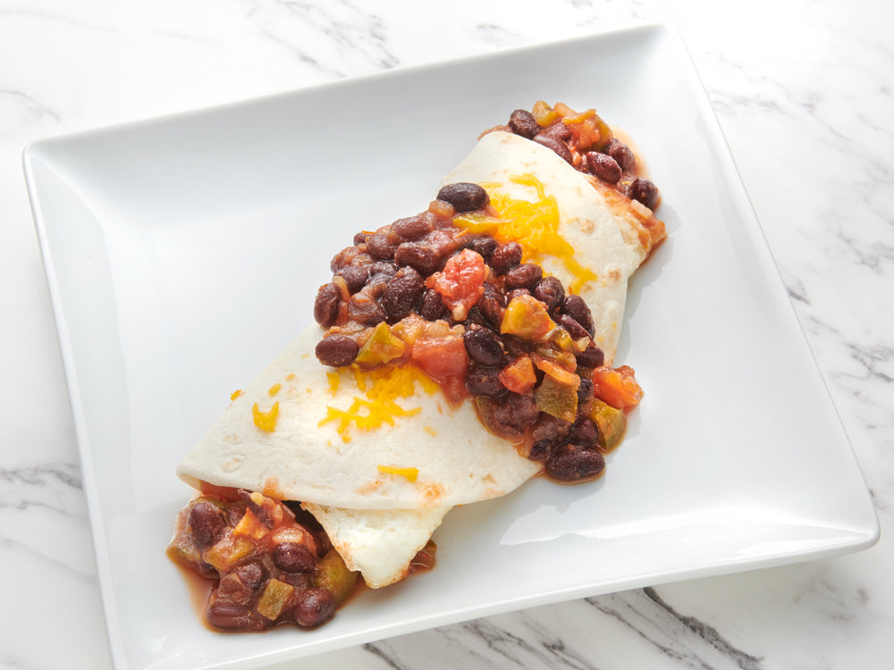 Cheddar Egg Wrap with Black Bean Salsa