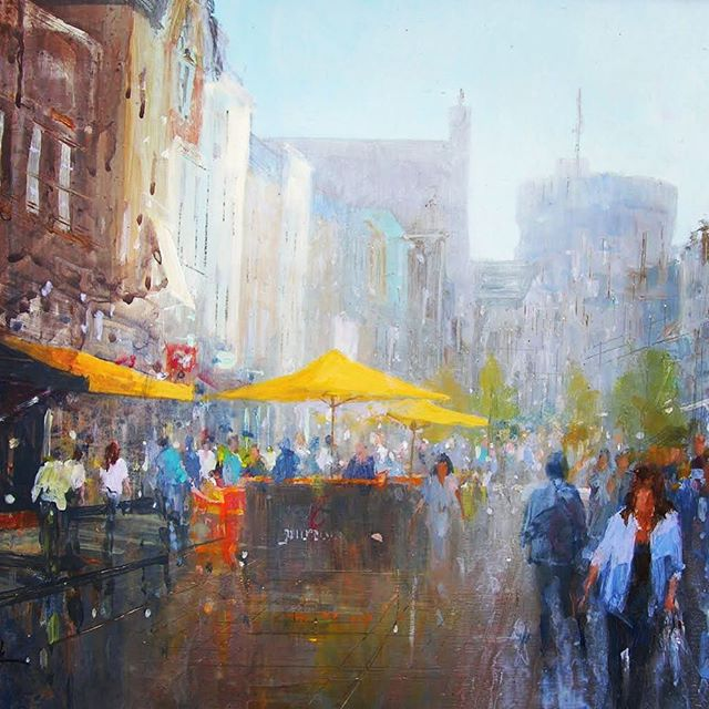 COFFEE . . . . This #acrylicpainting was transformed in #pleinair overlooking a street scene in @visitwindsoruk  Capturing the #light #mood and #atmosphere of a #hustleandbustle Morning took time and #patience but I got there in the end 🤗 . . . #artforsale #artistsoninstagram #londonart #artoftheday #acrylic #windsorart #artist  @briansmithartist