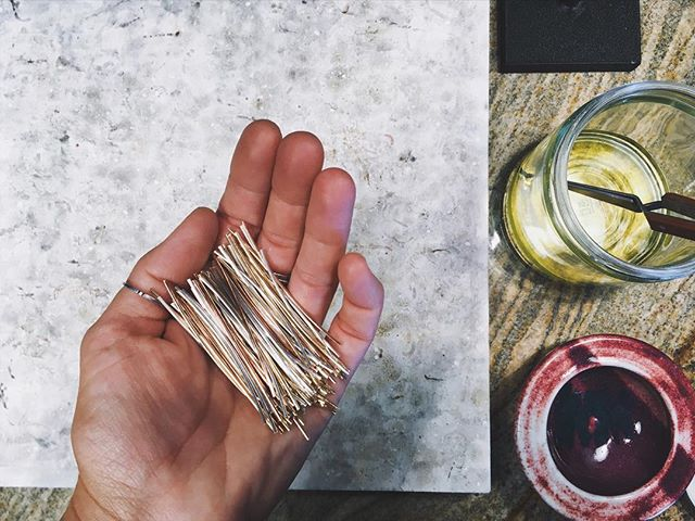 A handful of wire. This is how the Honey Collection pieces start before being #handfabricated into #rings and #bangles and #earrings.