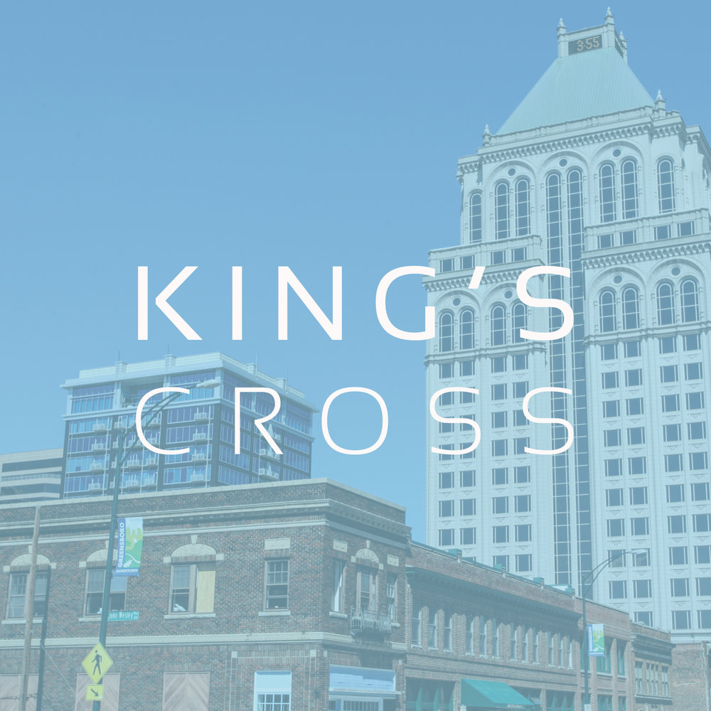 GREENSBORO, NC    King's Cross  is a church plant that launched in November of 2017, gathering in downtown Greensboro.  Pastor Clint Darst leads this new church as his team seeks to reach out to those on both sides of the tracks for the glory of God.