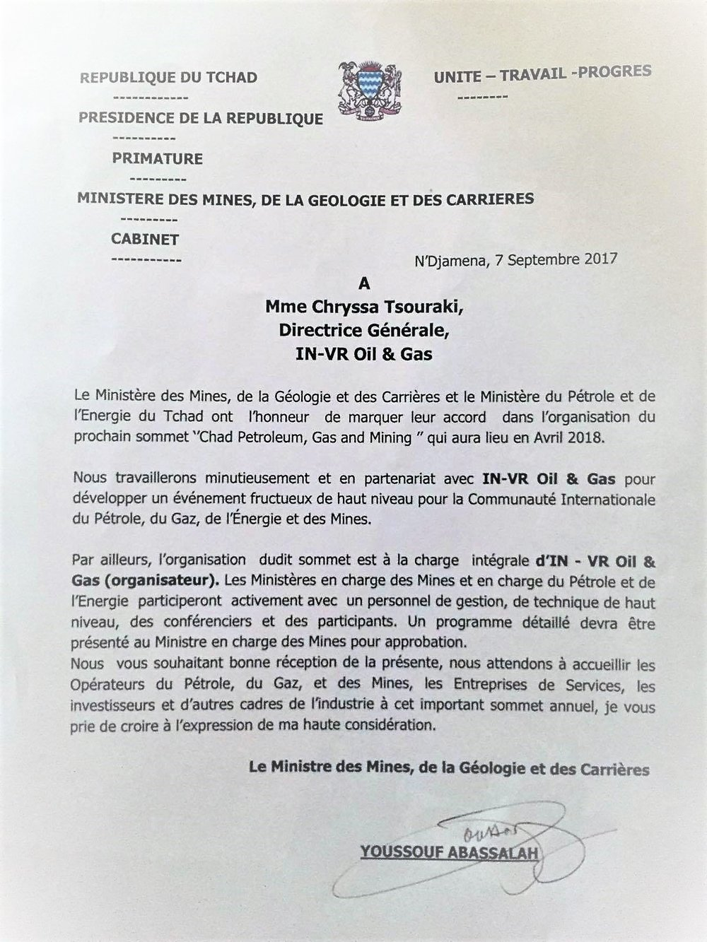 Letter of endorsement by the Ministry of Mines, Geology and Quarries of Chad, September 7th 2017, Paris.