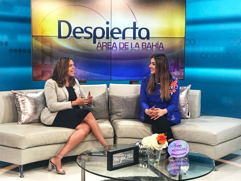 Univision's morning show (Despierta Area De La Bahia) interviews Karina Cabrera Bell - Multiple TV appearances to discuss the work of the Reach Mama Network.