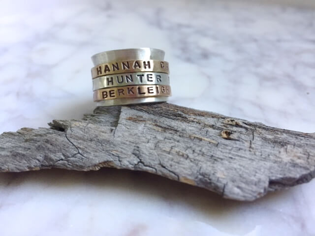 Custom Engraved Spinner Rings by Erin DeLargy