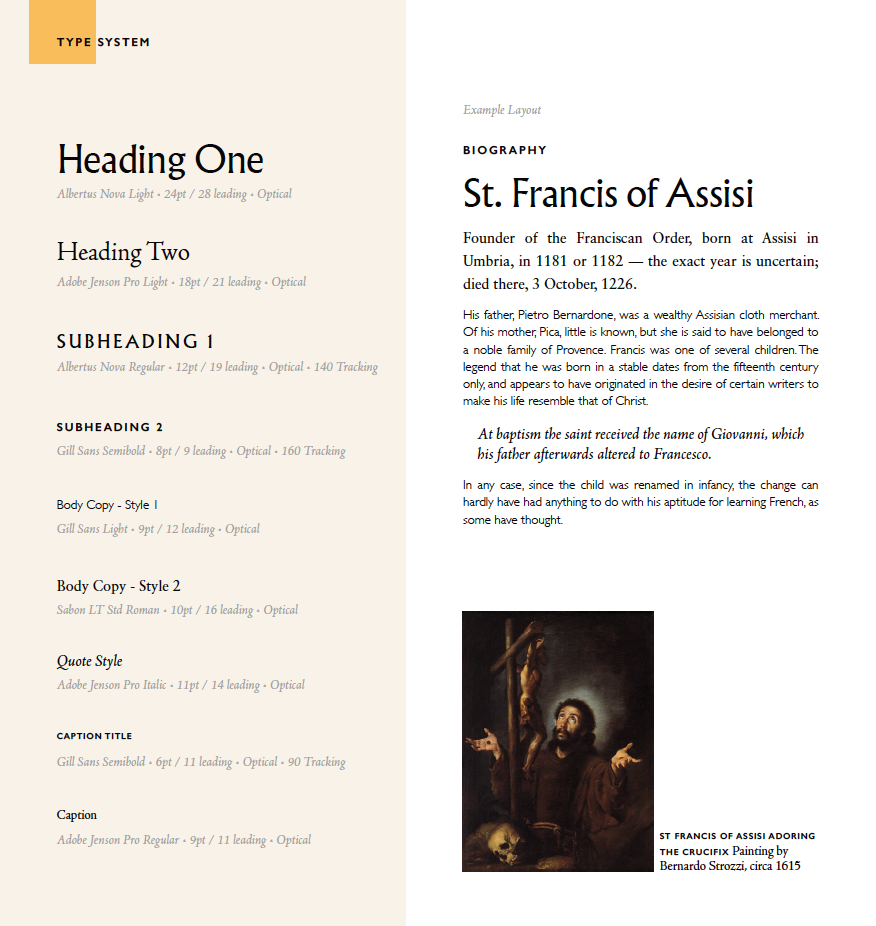 Franciscan Friars of America  Brand Identity, Print Design and Type System