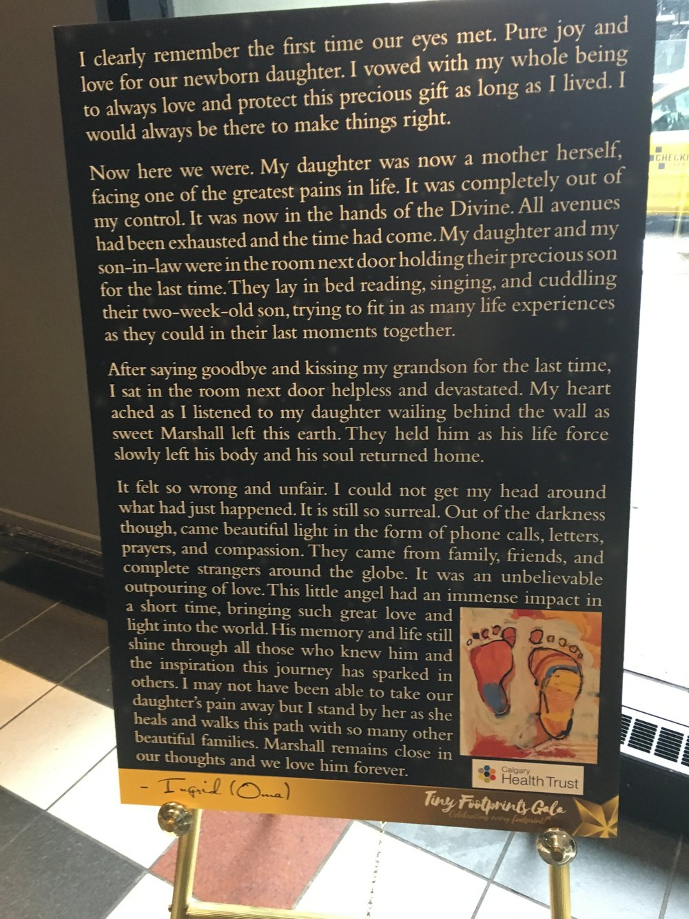 Oma's story displayed at the Tiny Footprints Gala 2018 in Calgary, Canada.
