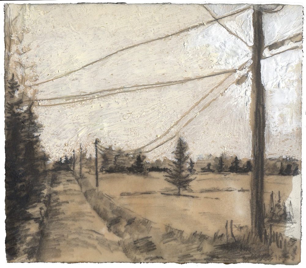 "Crossman Road, 7"" x 7"", Encaustic on panel"