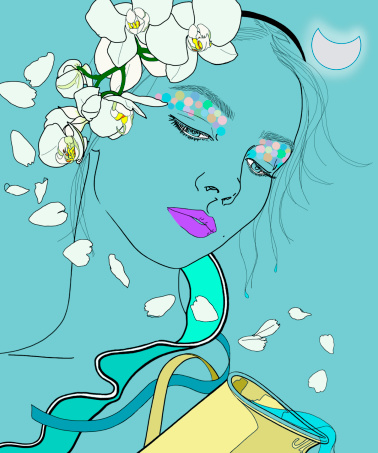 Aquarius woman zodiac sign with flowers in hair pouring water
