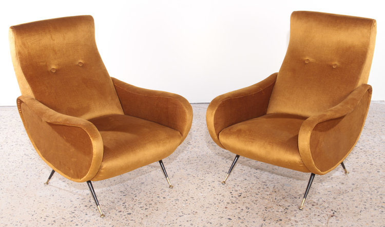 A pair of Mario Zanuso lounge chairs circa 1950 (Philadelphia, PA ...