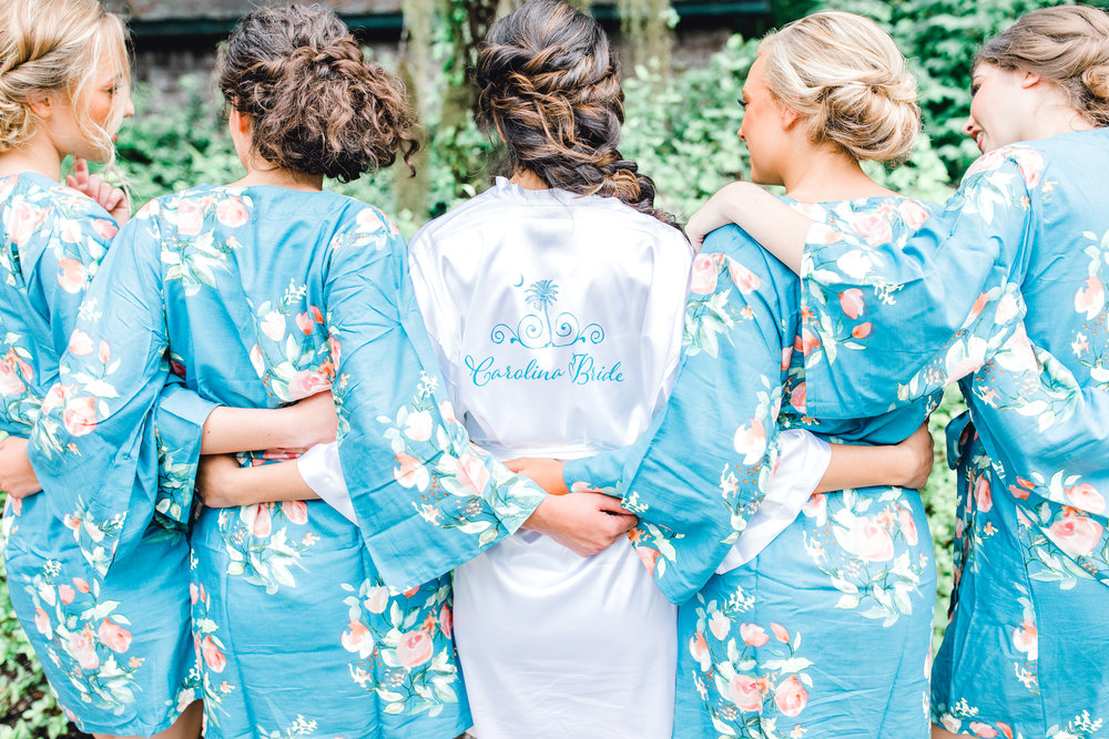bridesmaids robes getting ready Carolina bride