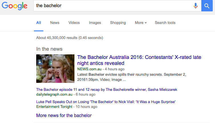 An example of a news box as a SERP feature.