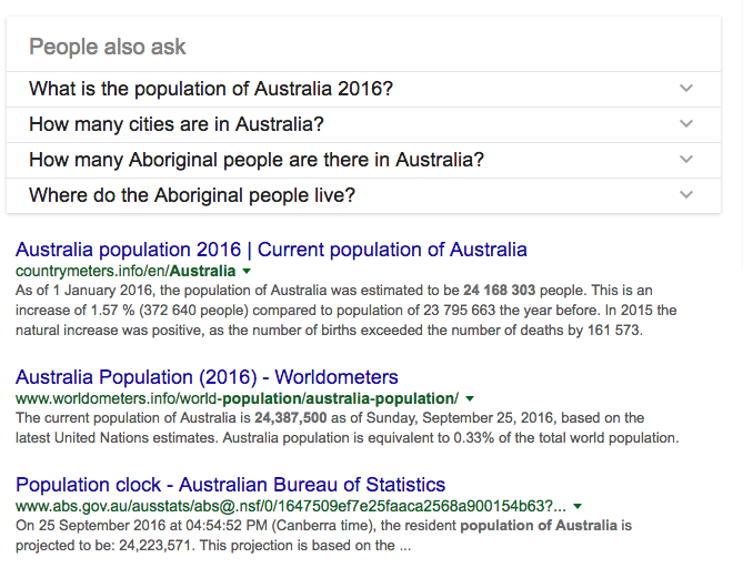 An example of related questions for the query 'What is the population of Australia', displayed above organic search results in the SERPs.