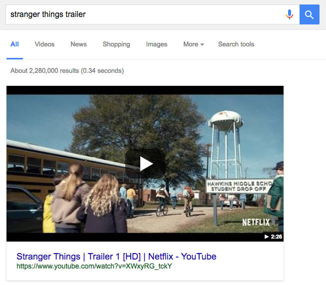 An example of a video displayed as a SERP feature.