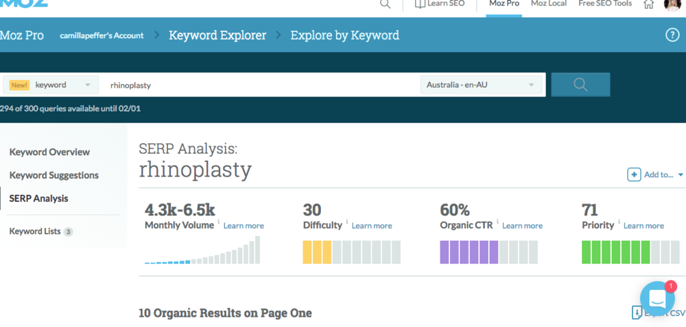 moz keyword explorer two