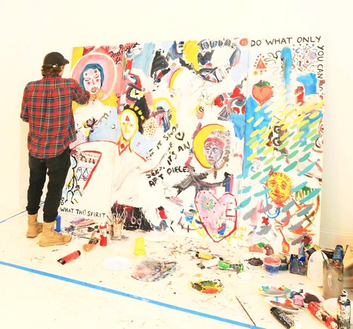 Nate Giordano adding finishing touches to his open collaboration with OFFLINE attendees.