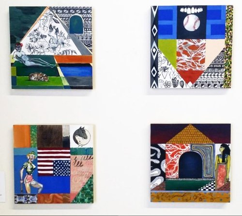 """Laura Little's newest body of paintings. TL : """"Olympia Take Two""""  TR : """"Arizona Root Canals""""  BL : """"Cowboy Yin Yang (We are Not Okay""""  BR : """"Have You Seen My Pet Serpopard (I Just Want to Be Cremated)"""""""