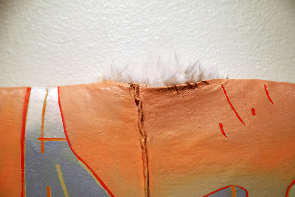"""[Detail] Amelia Briggs. """"Press Start."""" Oil, Acrylic, and Flashe on Stuffed Fabric over Faux Fur and Panel. 2018."""
