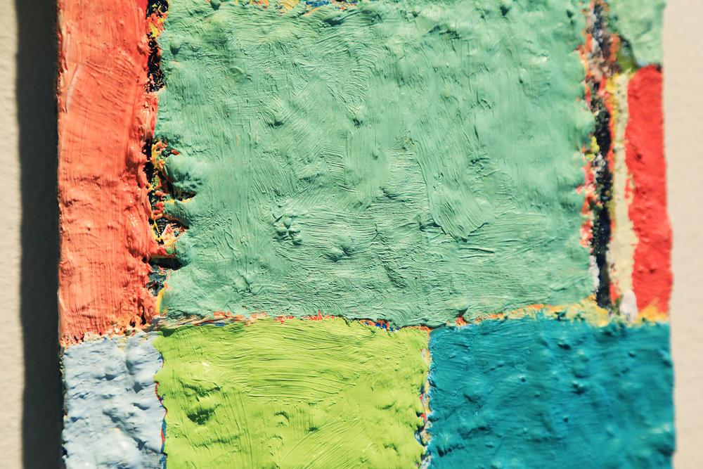 "[Detail] Douglas Degges. ""Untitled."" 2017. Oil and Gypsum on Panel."
