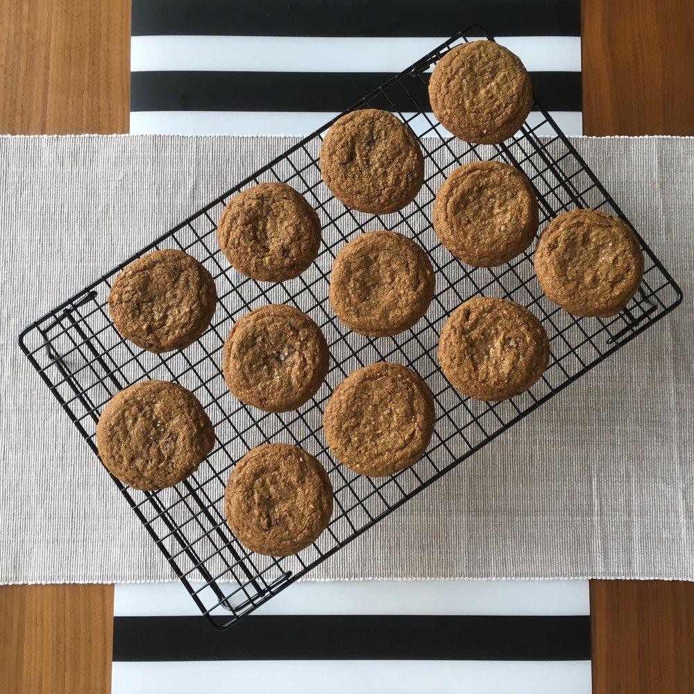 Malted Rye, Rosemary, Dark Chocolate + Sea Salt Cookies