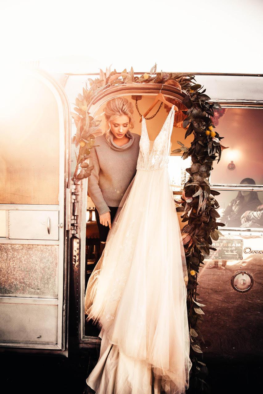 getting into wedding dress image model spokane
