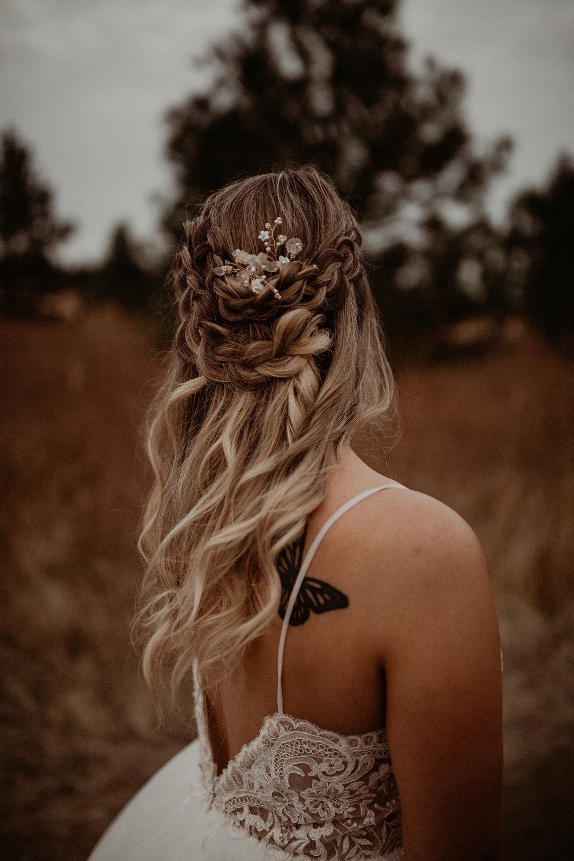 bridal hair in wedding dress image braid