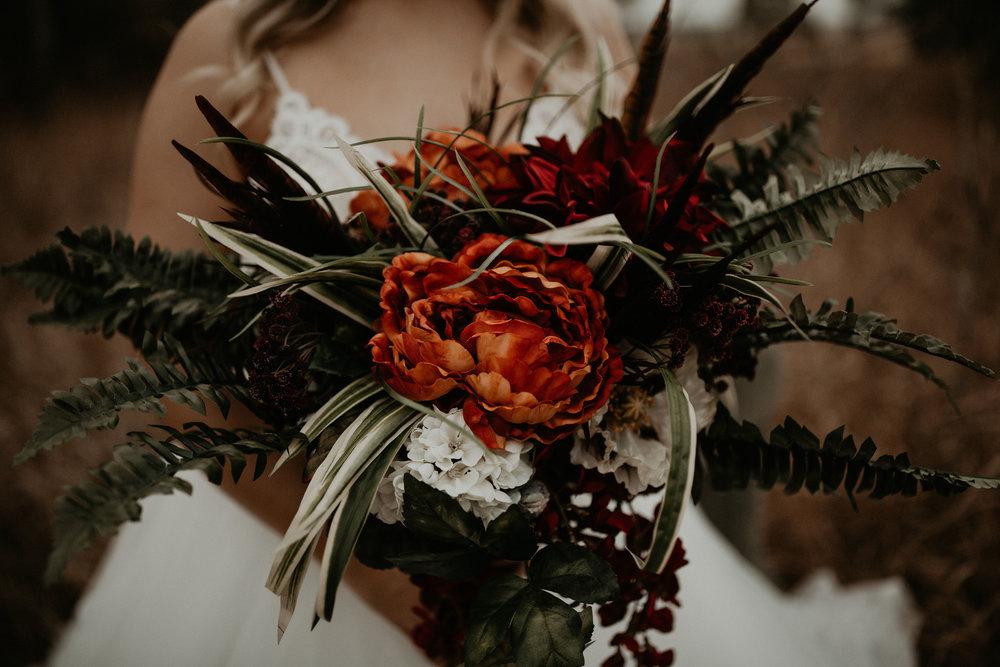 orange floral bridal bouquet image