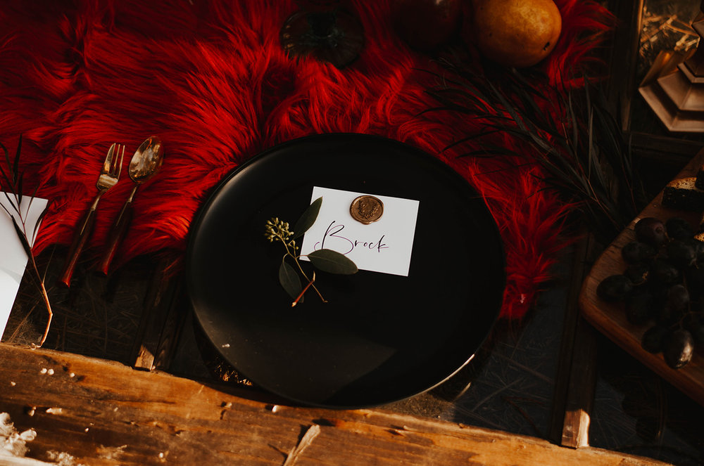 black wedding plate display image spokane elopement