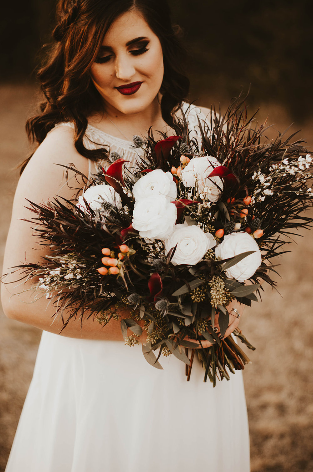 wedding dark florals plus size bridal spokane
