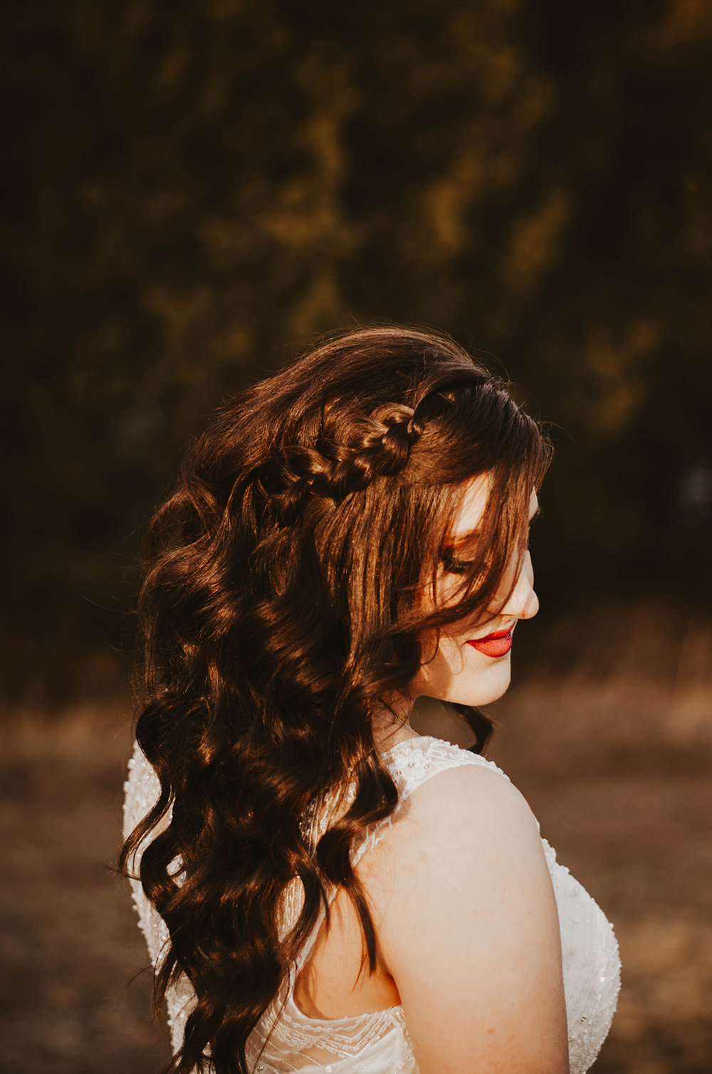 wedding hair dark braid spokane