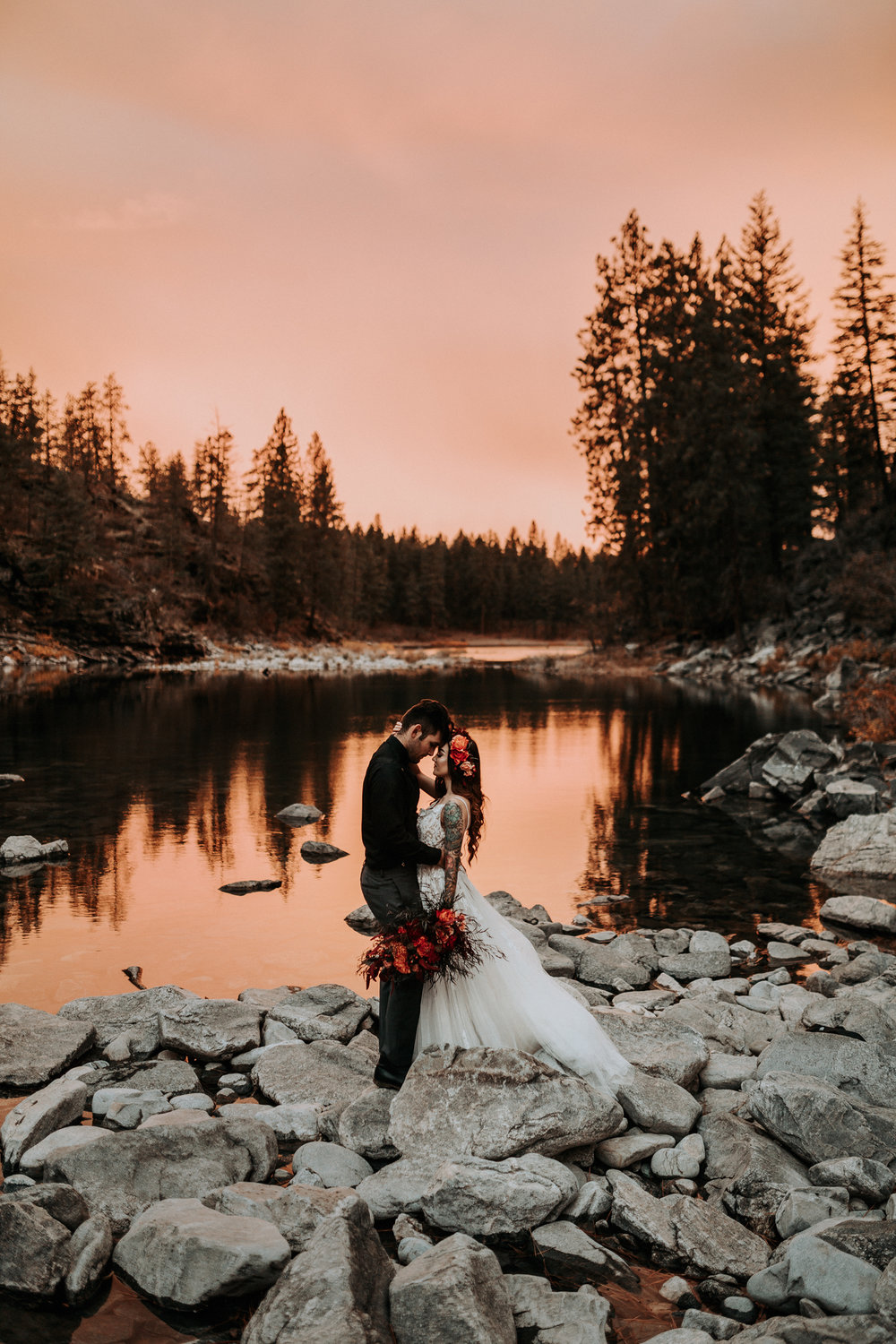 Sunset fall bridal shoot