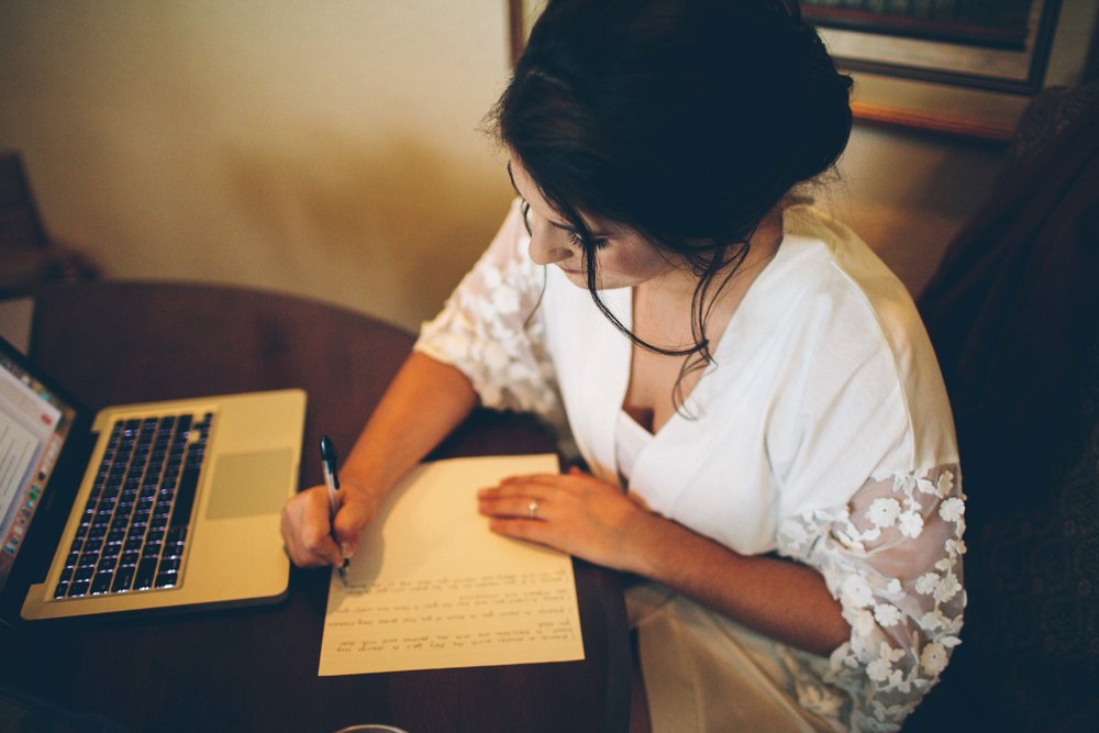 bride writing vows image Richland wedding