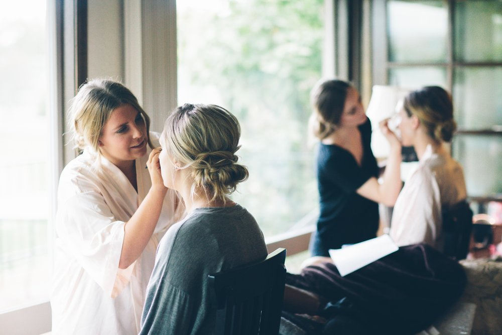 bridal party getting ready wedding