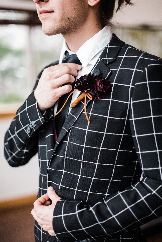 man getting ready winter wedding