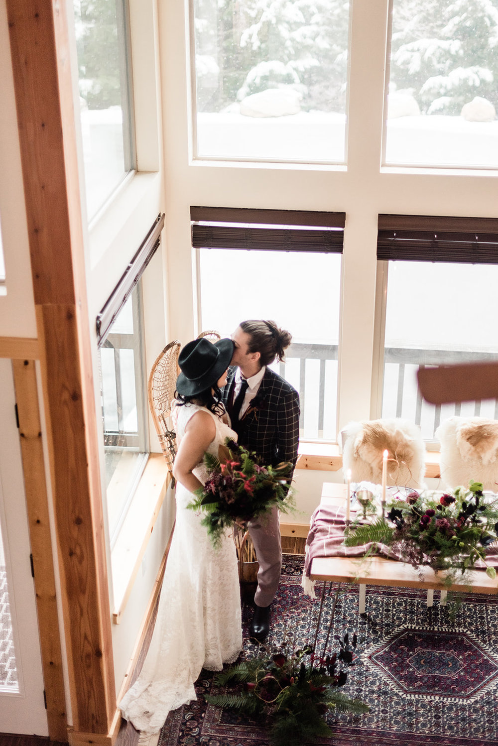 winter wedding by the table