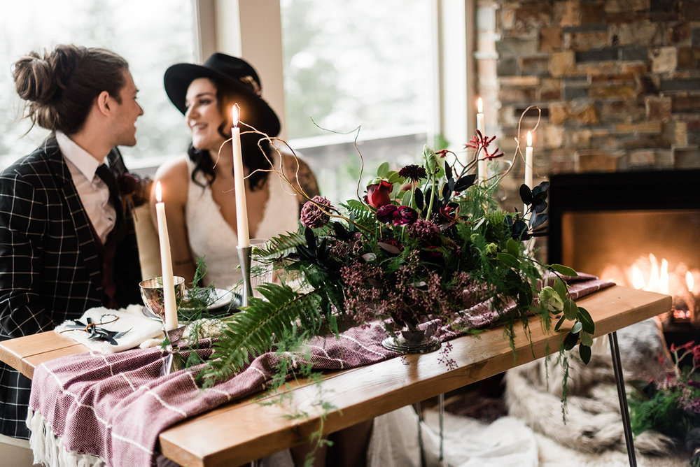 winter wedding with bride and groom image