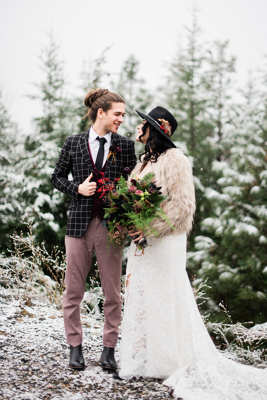 winter bride spokane fur coat wedding dress