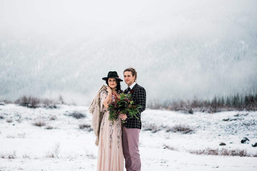 winter wedding dress bride pink gown black hat