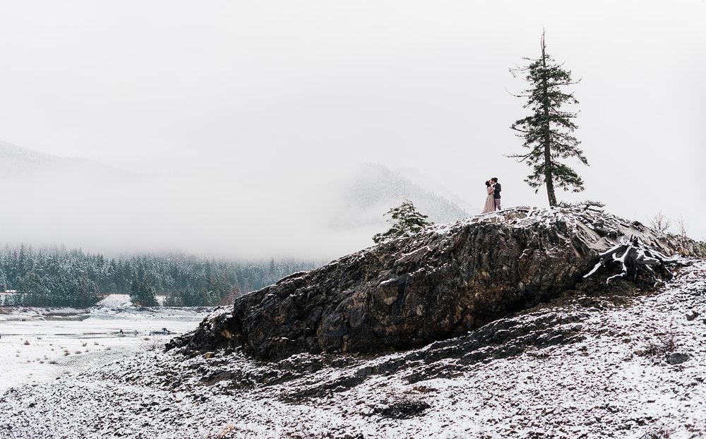 winter wedding snow spokane