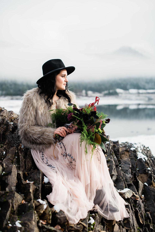 winter wedding pink dress spokane