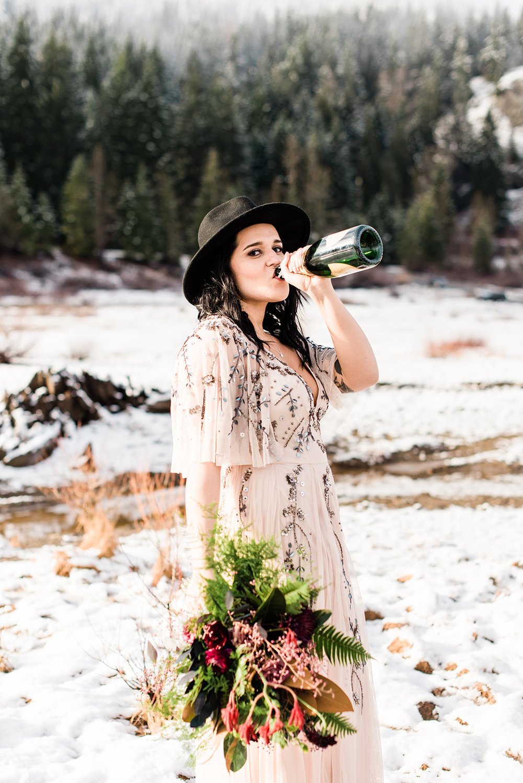 winter wedding spokane Champagne bride