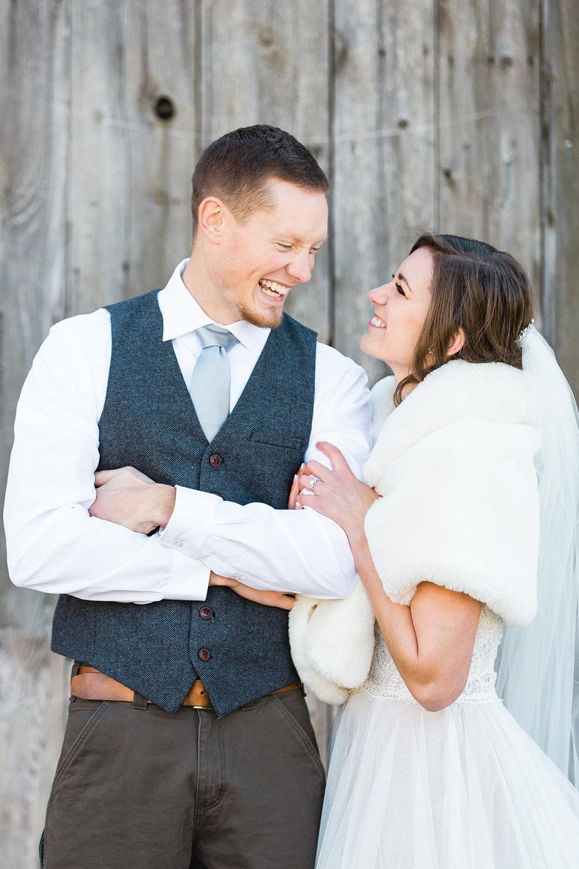 spokane wedding dress bride and groom winter