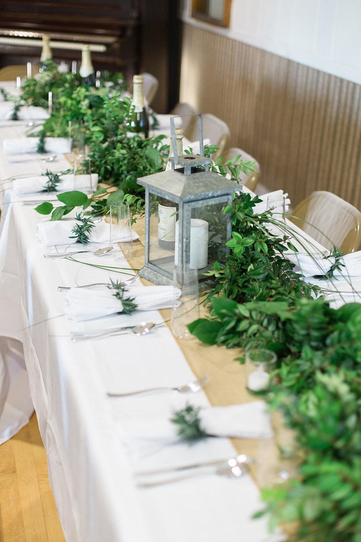 spokane wedding dress reception table setting green