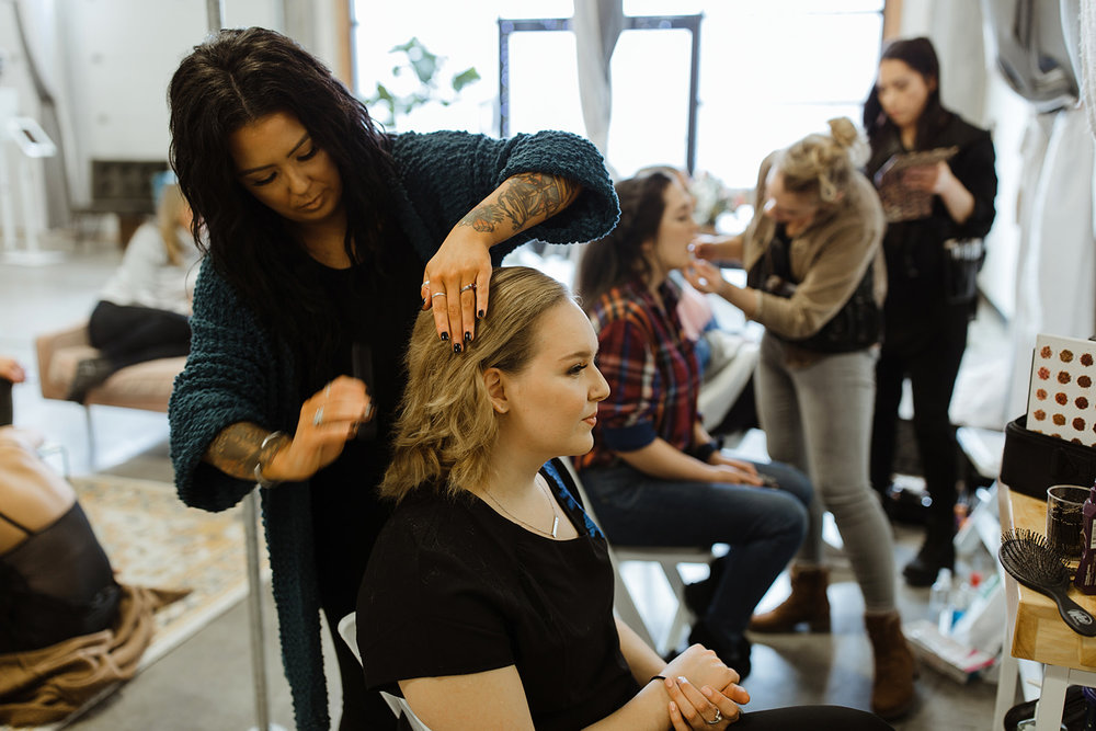 spokane wedding dress hair and makeup fashion show
