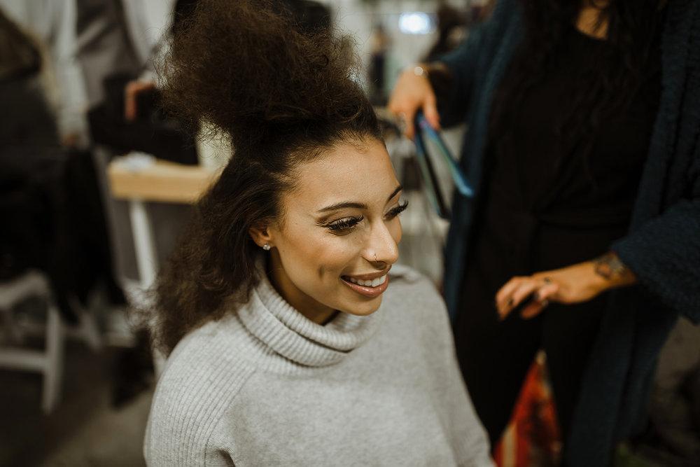 spokane wedding dress model hair straightening fashion show
