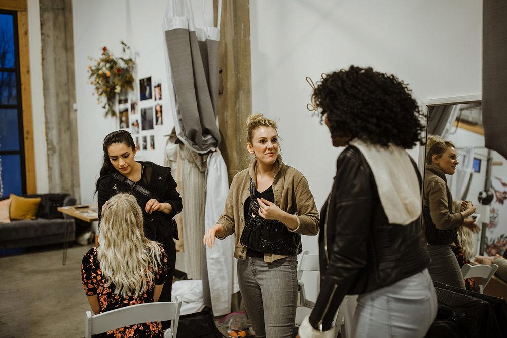 spokane wedding dress fashion show hair and makeup prep