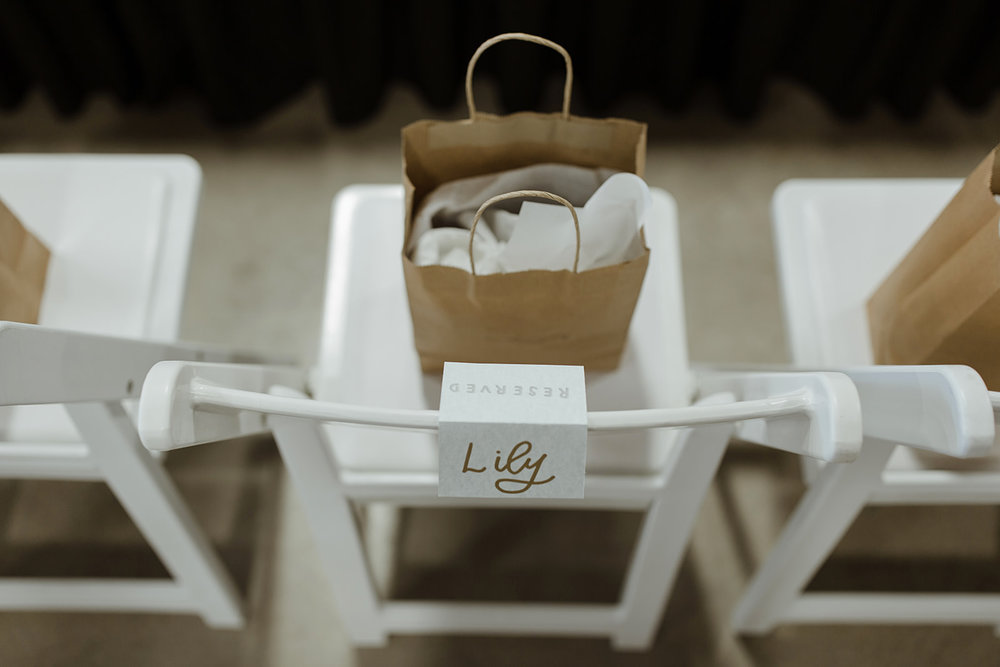spokane wedding dress swag gift bag reserved card seating