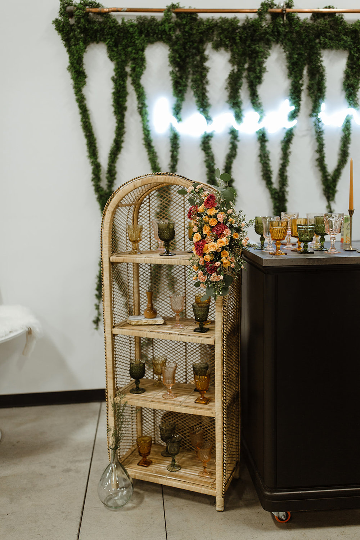 spokane wedding dress bar colored glassware fresh flowers green honest ivy artifact rentals